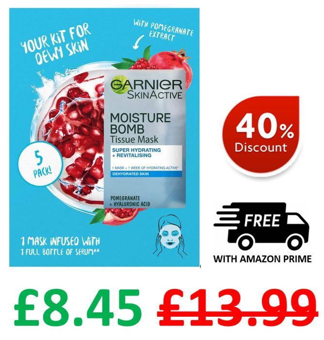 Amazon #1 Best Seller | Garnier Moisturising Tissue Mask | Pomegranate | 5 Masks