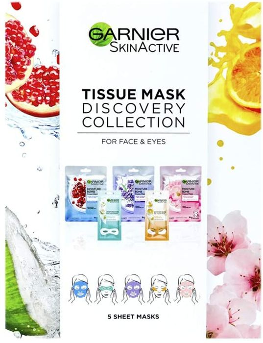 Garnier Face & Eye Sheet Mask Discovery Set (Pack of 5 Masks)