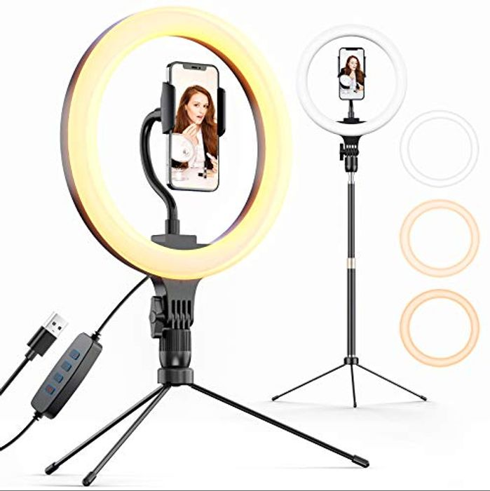 Deal Stack! Ring Light 10'' with Triop Stand & Phone Holder