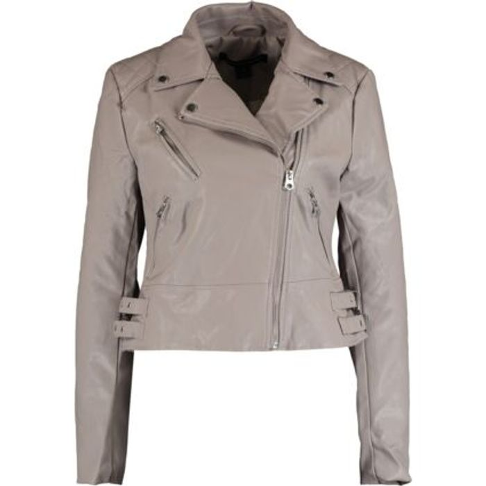 FRENCH CONNECTION Grey Diamond Quilted Shoulders Biker Jacket