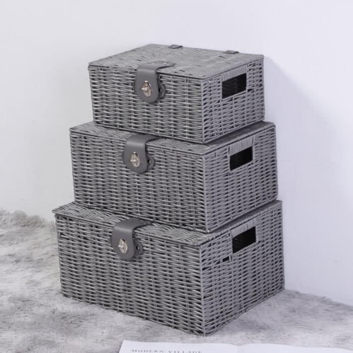 3pcs/set Storage Resin Wicker Hamper