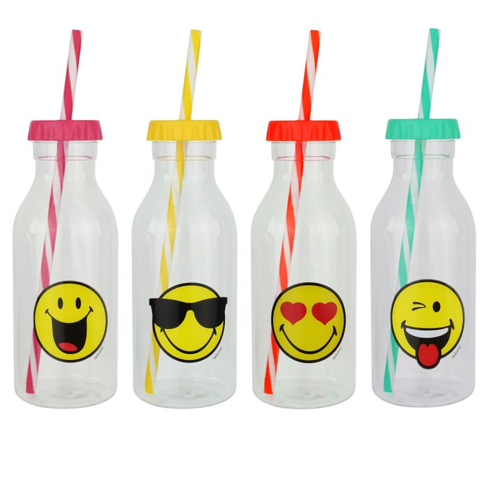 Set of 4 500ml Zak! Smiley Cold Drinks Bottles with Straws