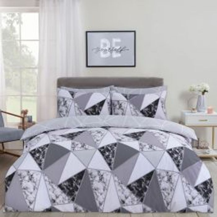 DREAMSCENE MARBLE GEOMETRIC DUVET SET - CHARCOAL Single