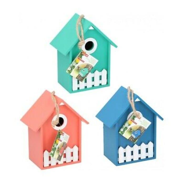 Wooden Nesting Nest Box Bird House Small Wild Birds Blue Tit Robin Sparrow Garde