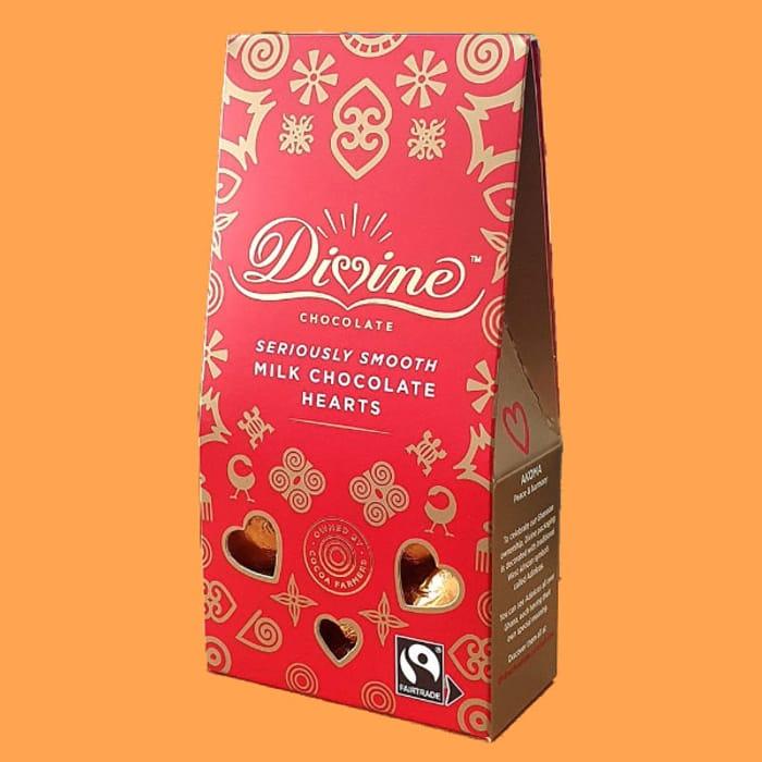 Divine Fairtrade Smooth Milk Chocolate Hearts 80g Box - £1 at Yankeebundles