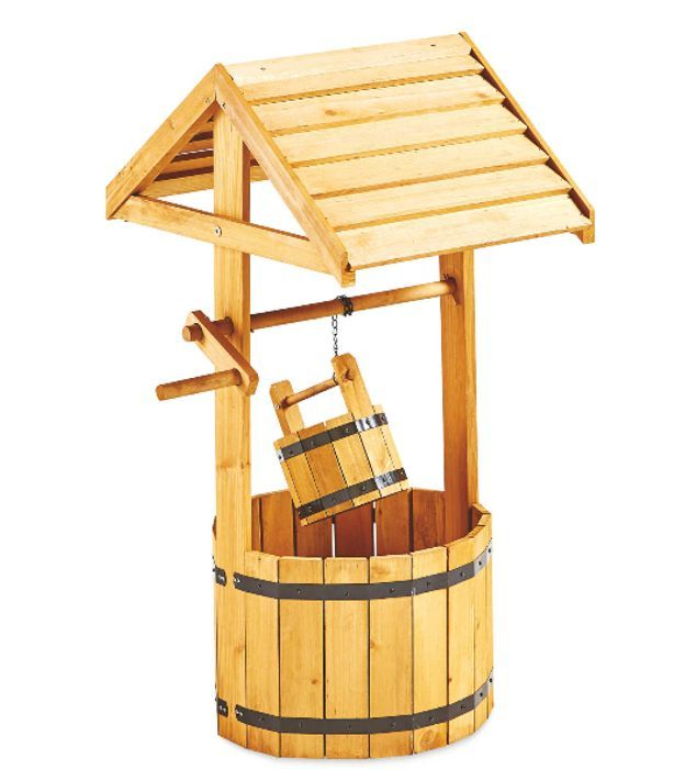 Natural Wooden Wishing Well Planter