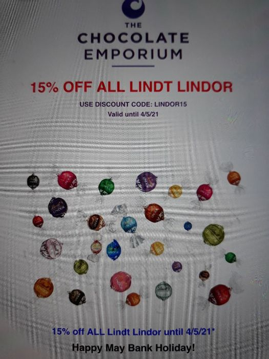 Chocolate Emporium 15% off All Lindt Lindor May Bank Hol Special
