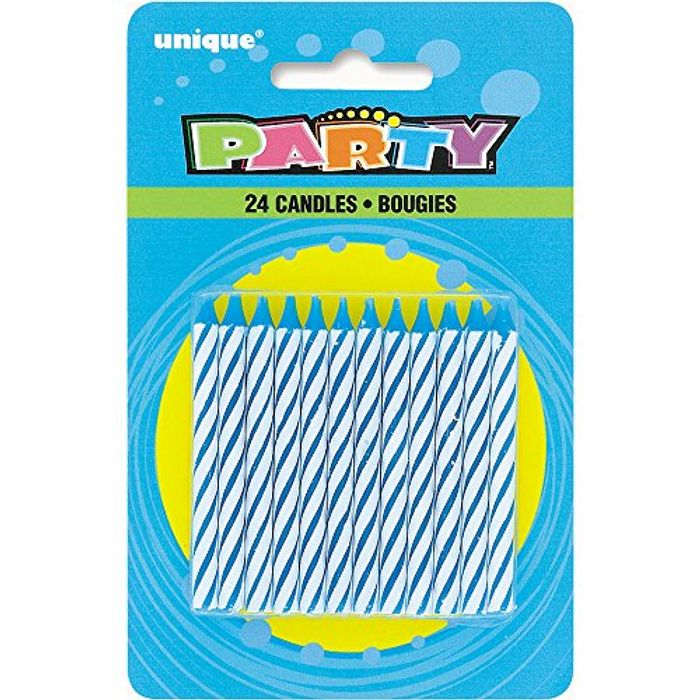 24 Blue Striped Birthday Candles