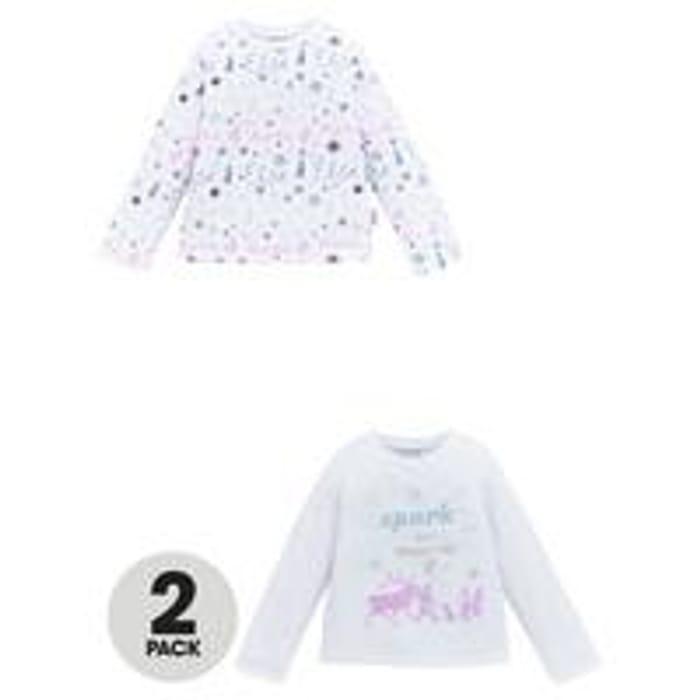 Disney Frozen Girls 2 Pack Long Sleeve T-Shirts - White