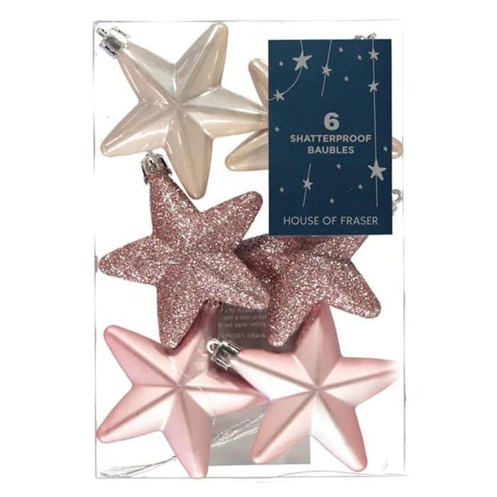 Shatterproof Baubles 7.5cm Stars 6 Pack