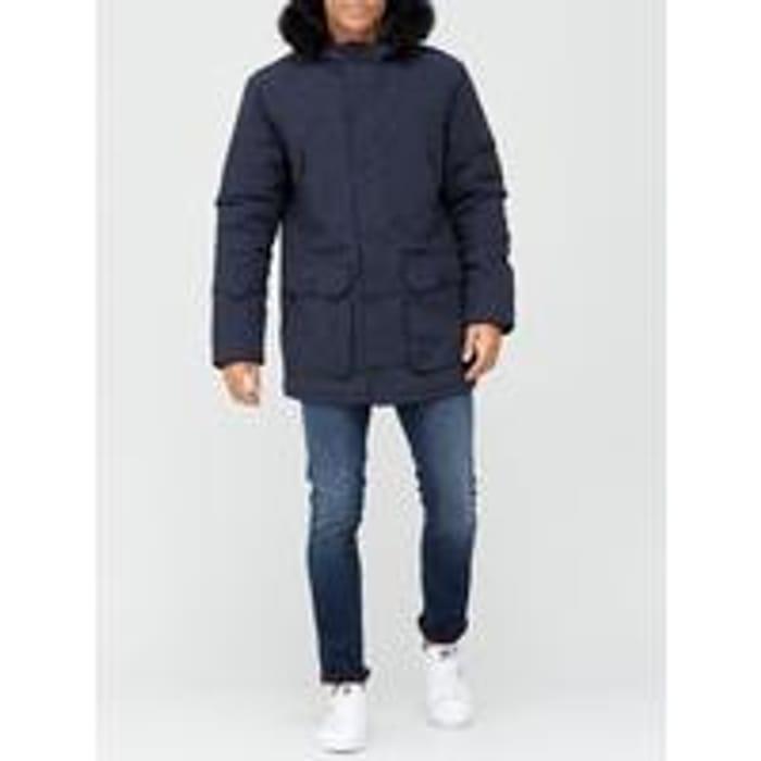 Very Man Faux Fur Hood Parka - Navy