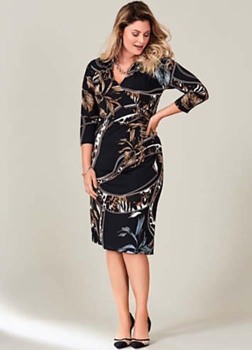 Black Animal Print Wrap Dress by Kaleidoscope Curve (Size 28, 30 & 32)