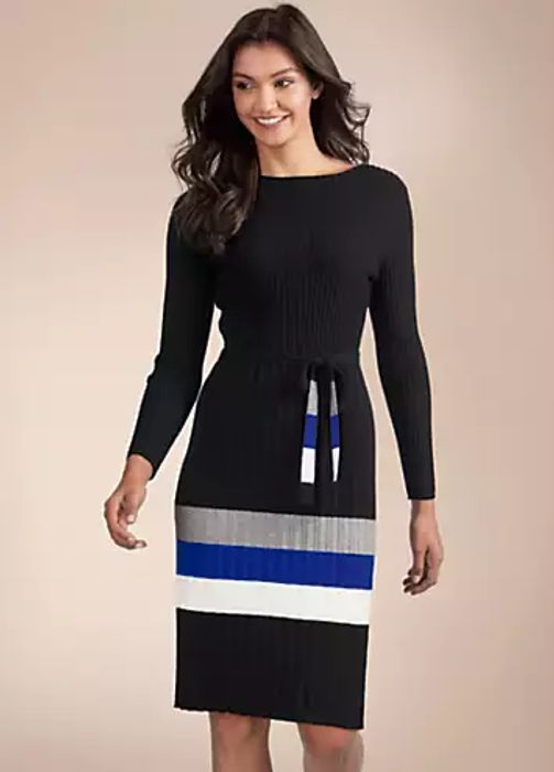 Kaleidoscope Striped Rib Dress (Size 16-22)