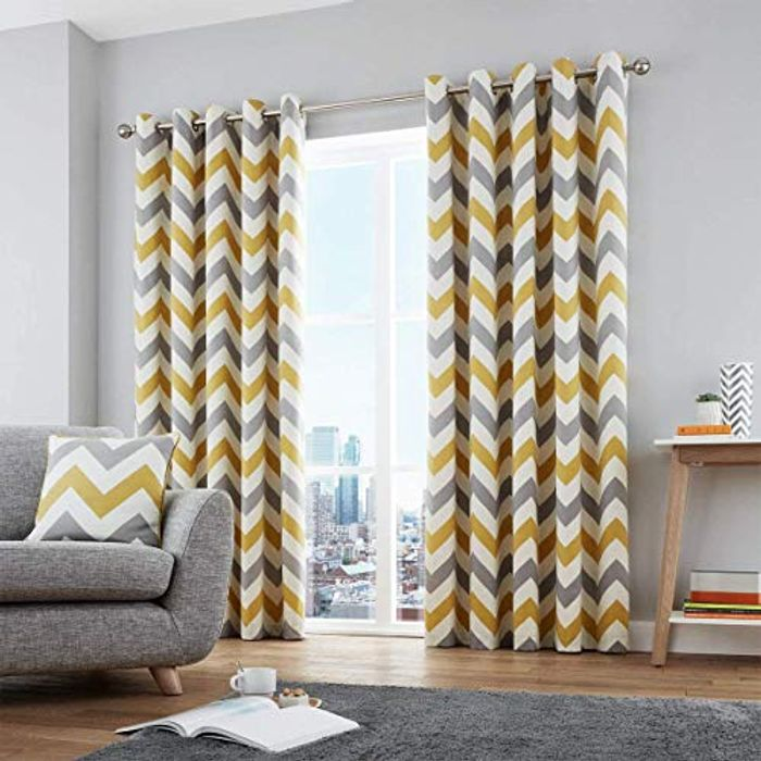 100% Cotton Ready-Made Pair of Eyelet Curtains
