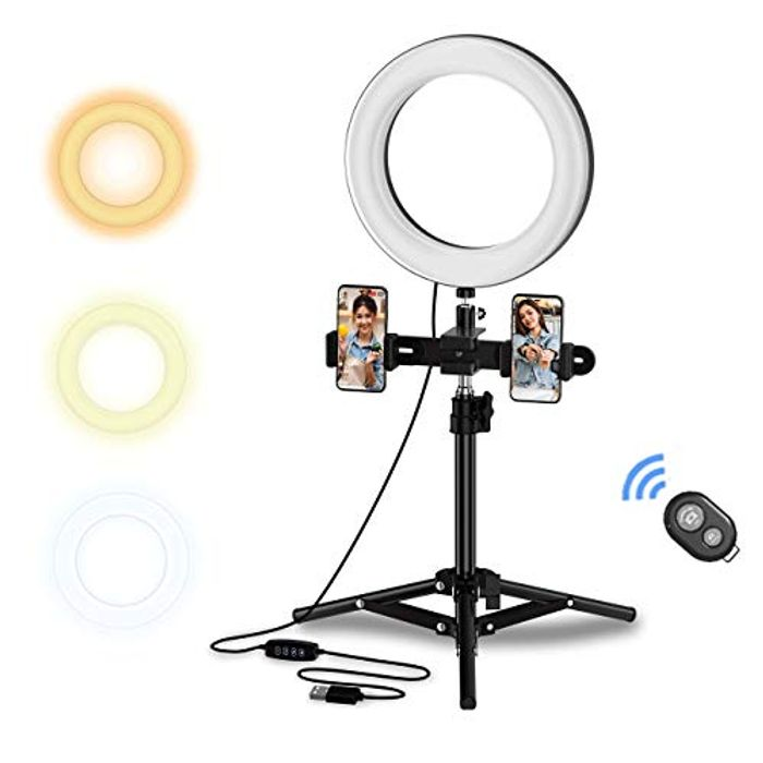 """8"""" Selfie LED Ring Light with Tripod Stand and Phone Holder"""