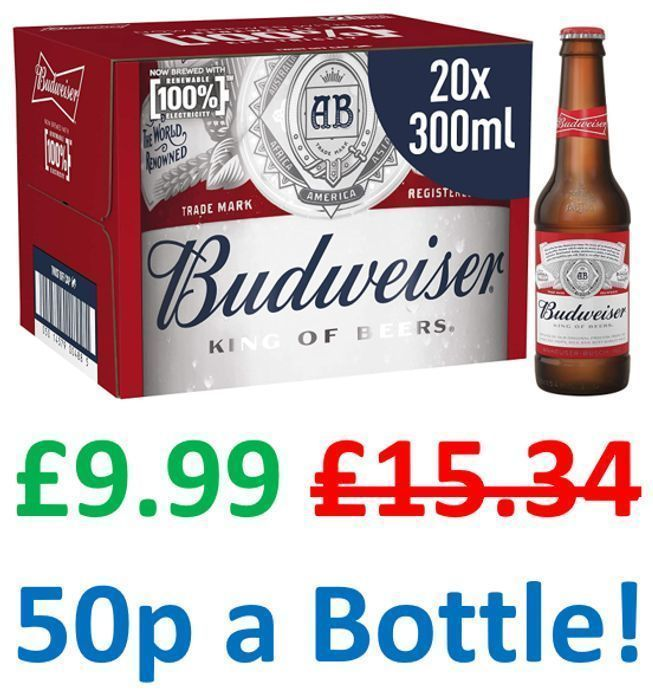 20 Budweiser X 300ml | ONLY £9.99 + FREE PRIME DELIVERY!