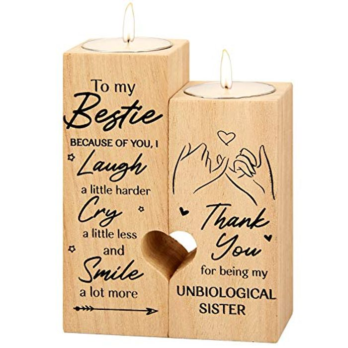 Pair of Wooden Heartfelt Candle Holders Different Styles to Choose From