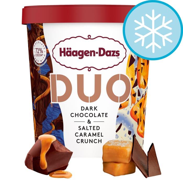 Haagen Dazs Dark Chocolate & Salted Caramel Crunch Duo Ice Cream 420Ml