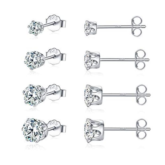 DEAL STACK - 5 Pairs of 14k White-Gold Plated Silver Stud Earrings + 10% Coupon