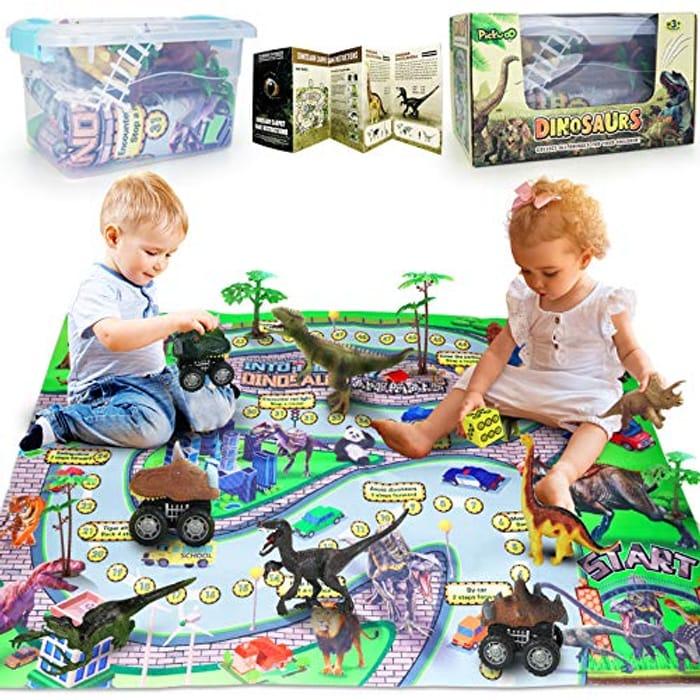Dinosaur Playmat Playset with Storage Box Dinosaurs and Cars