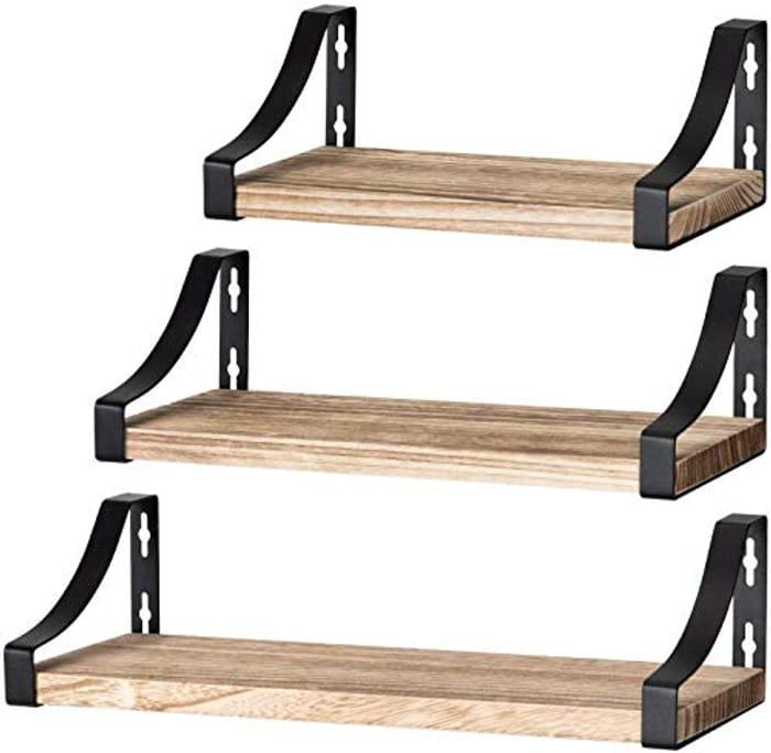 Set of 3 Floating Wooden Shelves