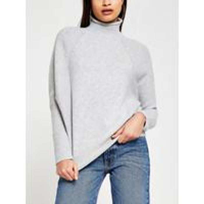 River Island Funnel Neck Knitted Jumper - Grey