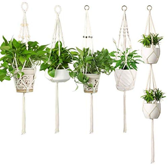 5 Pack, Hanging Planter Indoor Outdoor Handmade Cotton Rope - 51% promotion code