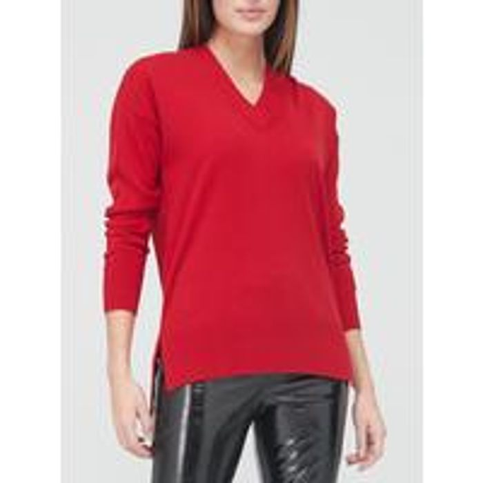 V by Very v Neck Relaxed Fit Jumper - Red
