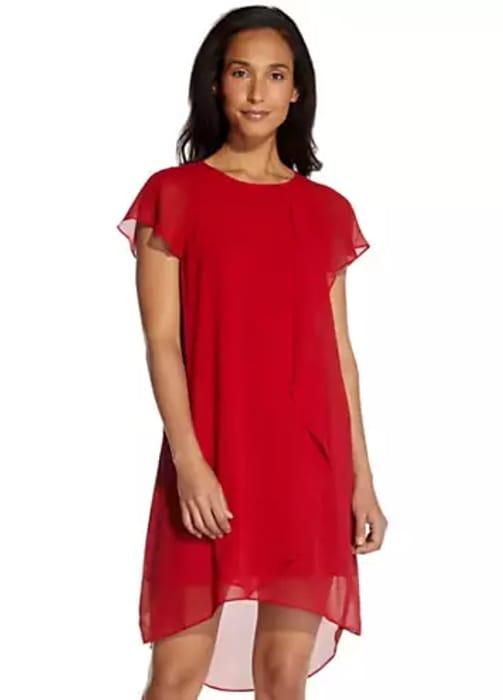 Adrianna Papell Chiffon Trap Dress (Size L)