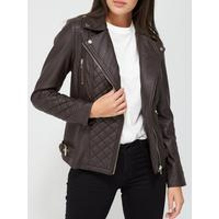 V by Very Quilted PU Biker Jacket - Chocolate