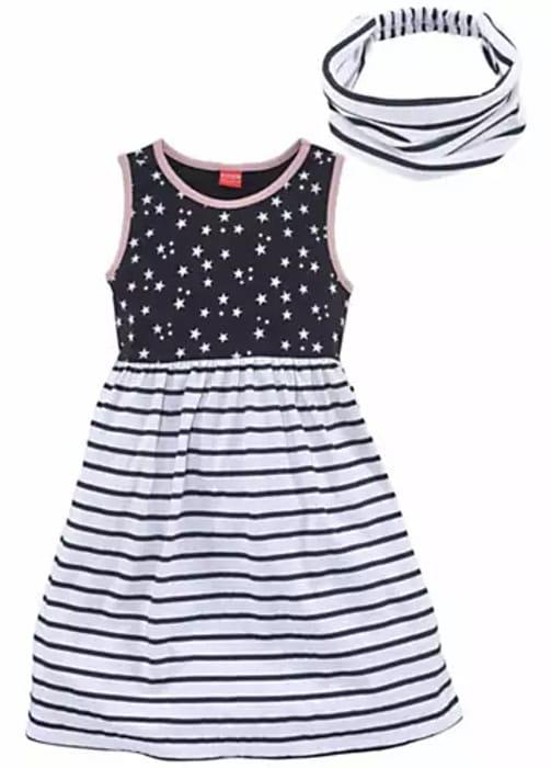 Navy Print Dress & Hairband Set by Kidoki