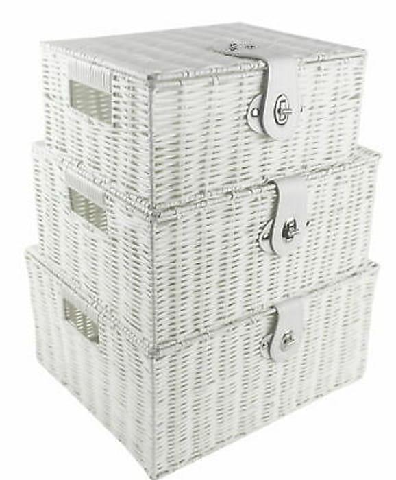 SET of 3 Storage Baskets Resin - White