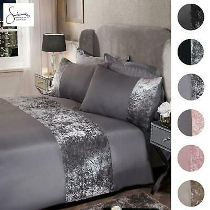 Sienna Crushed Velvet Panel Duvet Cover with Pillow Case Bedding Set Silver Grey