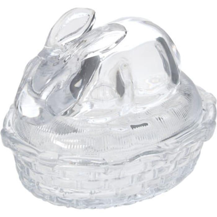 Clear Bunny Glass Trinket Jar 10x11cm