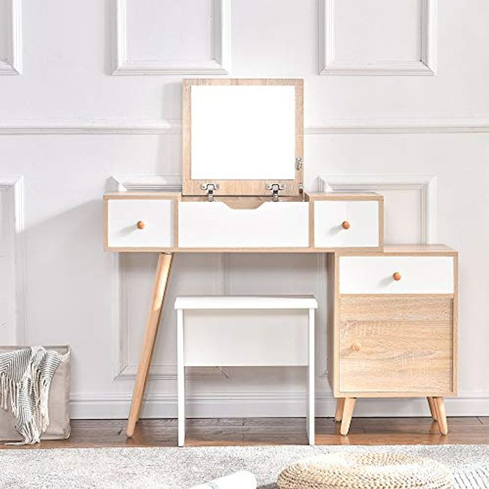 Ansley&HosHo Modern Wood Dressing Table Set - Only £75.99!