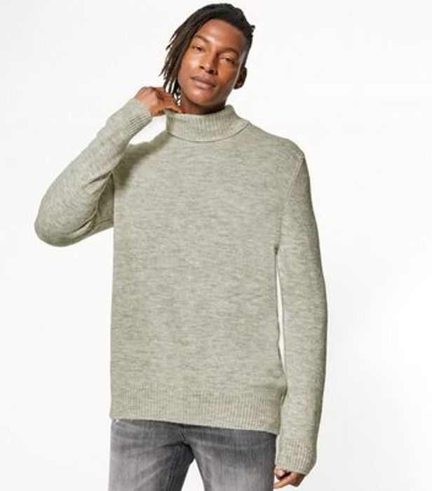 Mens Pale Grey Fine Knit Roll Neck Jumper Now £13.00 at Newlook