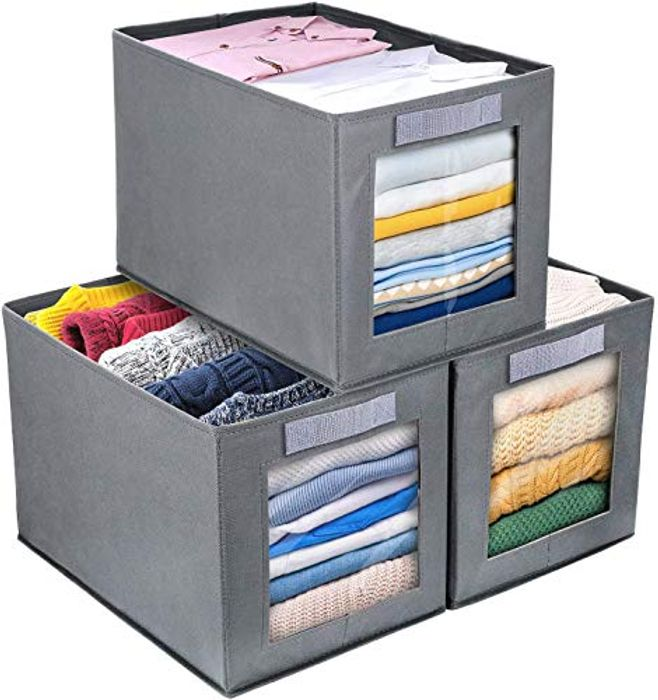 Collapsible Storage Bin Basket with Handle, 3 Piece