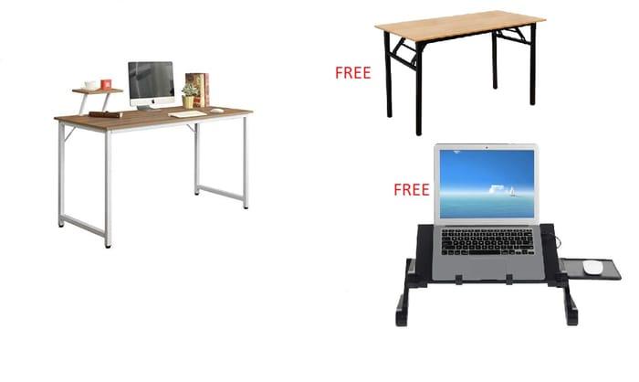 Deal Stack! Computer Desk + Free Folding Desk + Free LaptopStand