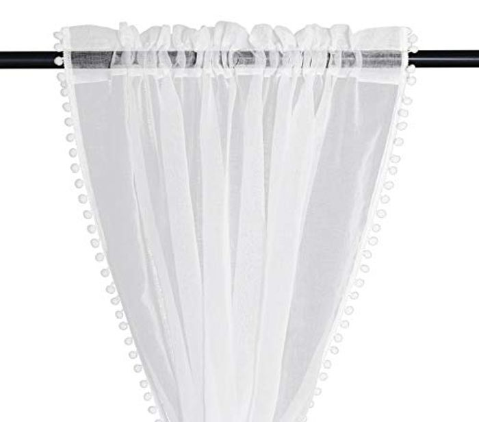 Luacsef Linen Look Pom Pom Tasseled Sheer Curtains with £15 off Coupon