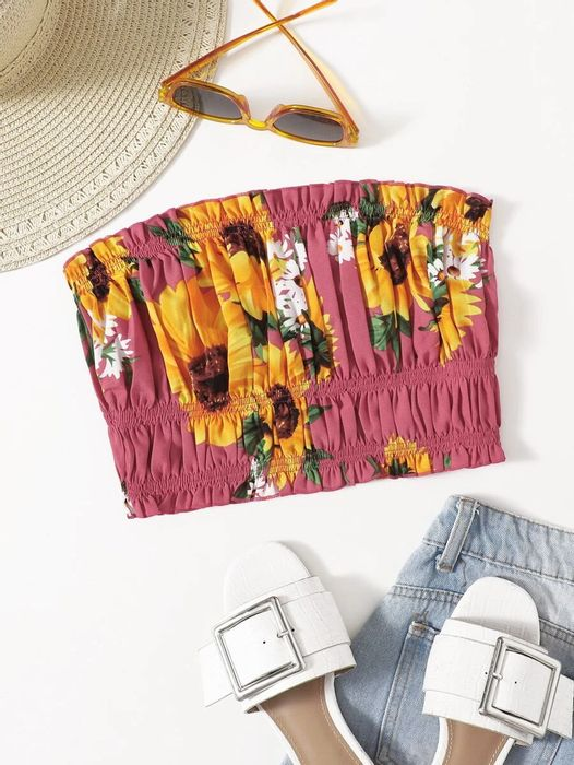 Sunflower Print Ruched Bust Tube Top