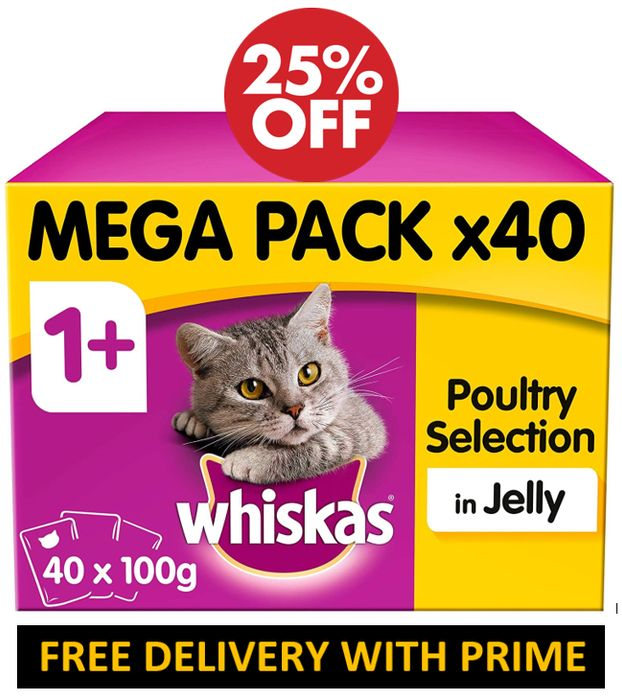 SAVE £3.34 - Whiskas Poultry Selection in Jelly, 40 X 100g (4 Kg)