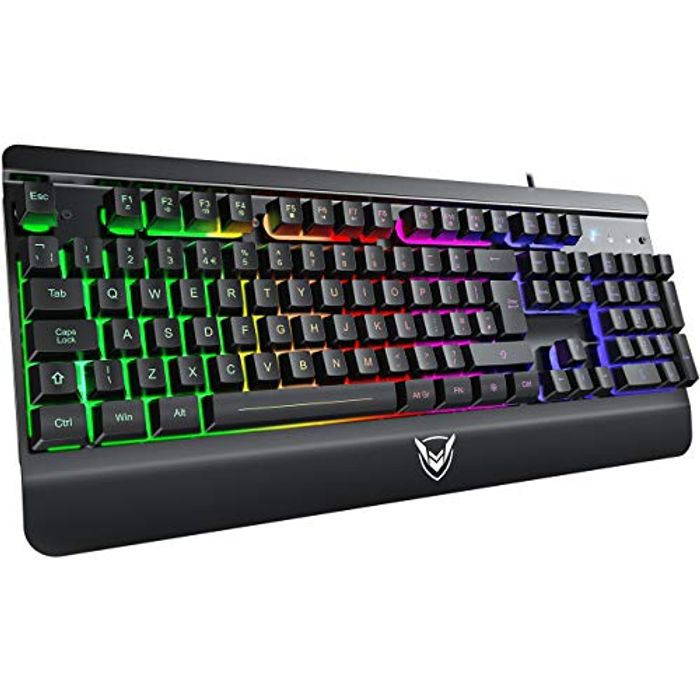 Gaming Keyboard, PICTEK Ultra-Slim All-Metal Panel Wired USB
