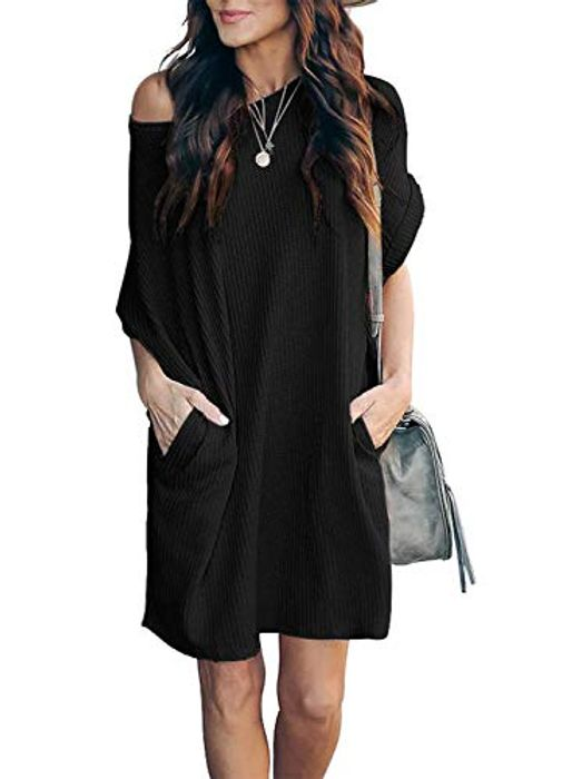 Ihot Women Casual Waffle Knit Pockets Mini Dress with £12 off Coupon