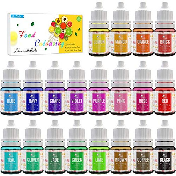 Food Colouring - 20 Colours Variety Liquid Cake Icing Kit - Only £8.99!