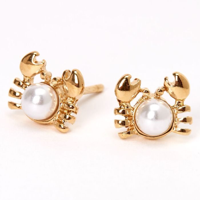 18kt Gold Plated Pearl Crab Stud Earrings