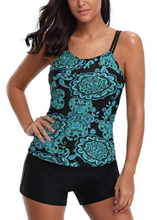 AYEEBOOY Women's plus Size Floral Halter Tankini Set with Boyshort