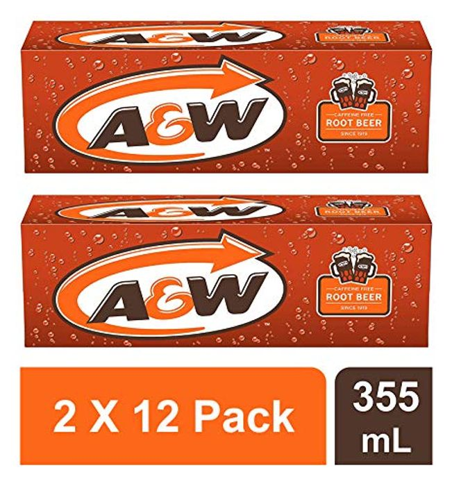 A&W Root Beer 355ml Cans ( 2 X 12 Pack) - Total 24