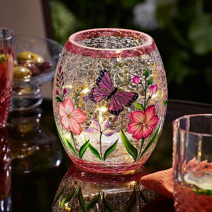 Crackle Glass Summer Lantern For Outdoor Dining