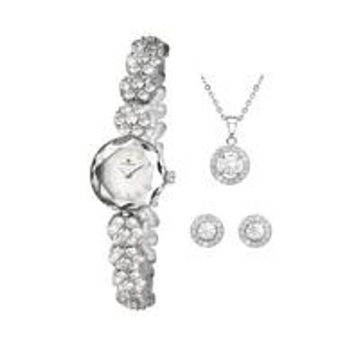 Accurist Crystal Set Watch & Necklace & Earrings Gift Set