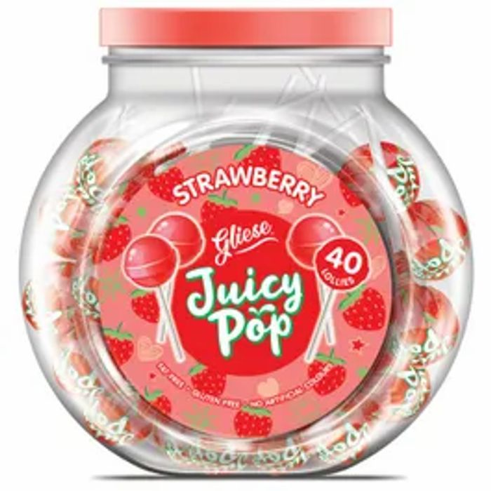 Gliese Juicy Pop Strawberry, Orange Or Mango Lollies 40 Pack